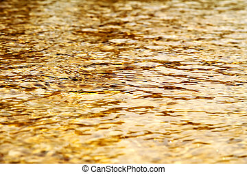 Golden water - Natural, flowing water in a earth toned river...