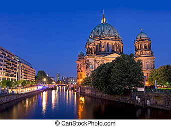 Berlin Dome Berliner Dom - Berlin Dome after sunset with...