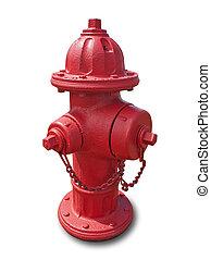 vermelho, fogo, hidrante, isolado