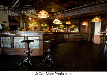 Rustic Pub Bar Interior - The rustic decor adds a lot of...