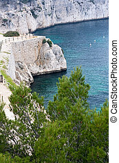 cliffs of calanques near cassis - high cliffs in the...