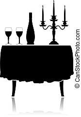 Romantic restaurant table - Silhouette romantic restaurant...