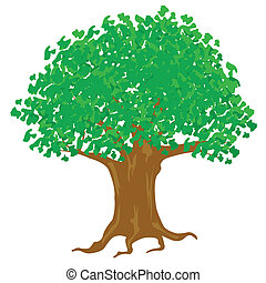 Illustration tree with green foliage on white background -...