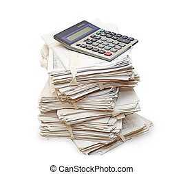 Pack of official papers with the calculator are isolated on...