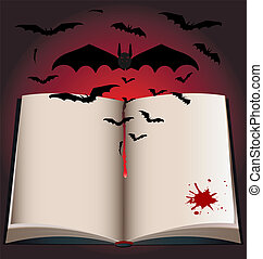 dark book and bats - on a black-red background is a large...