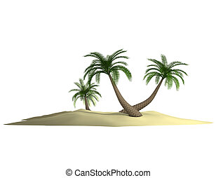 3d render of island with palm-tree on white - 3d render of...