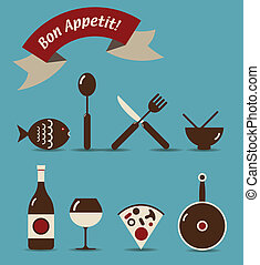 Bon Appetit Icon Set - An icon set of food and beverage...