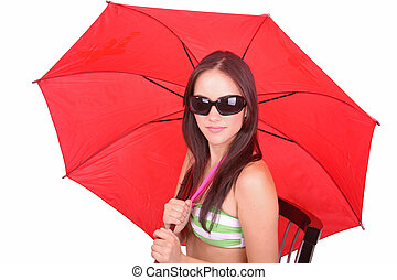woman with red umbrella - Business woman standing under red...