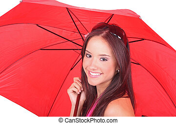 lady watching with a red umbrella