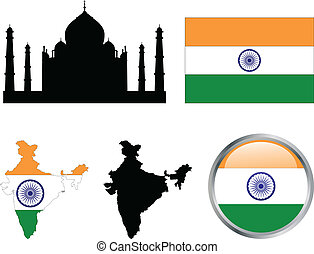 India flag,map and buttons - vector