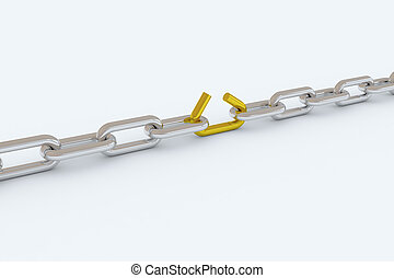 Chain lose link - Metal chain, with one lose link. Metaphor...