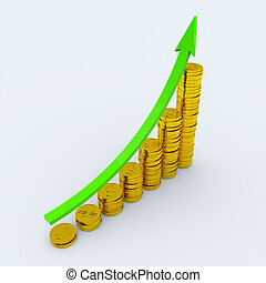 Coins showing profit and gain - Graph with green arrow and...