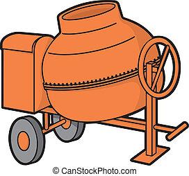Concrete mixer - Orange mini concrete mixer with wheels...