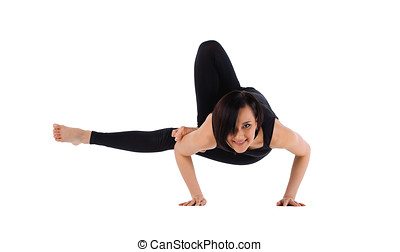 woman arm balance yoga asana - leg in armpit - woman arm...