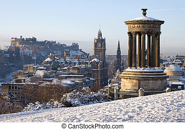 Edinburgh Winter Cityscape - Edinburgh winter city view...