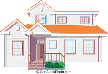 House - Beautiful orange house with windows and door...