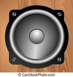 Audio speaker on wooden background - Loudspeaker on...