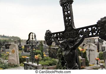 Cemetary scene - falling cross