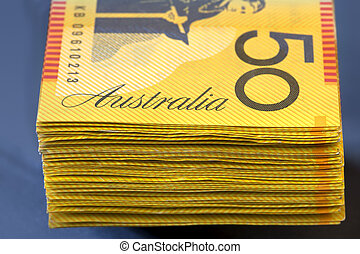 Australian Money - Stack of Australian fifty dollar bills....