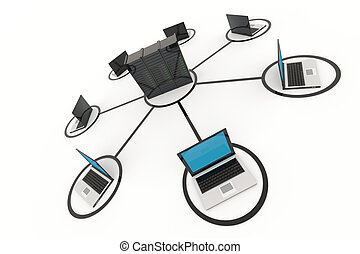 Computer Network with server on white background 3D reder...