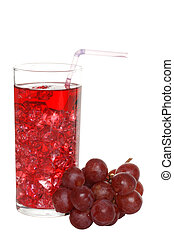 grape juice with ice and fruit - isolated grape juice with...
