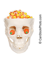 human skull filled with candy corn - isolated human skull...