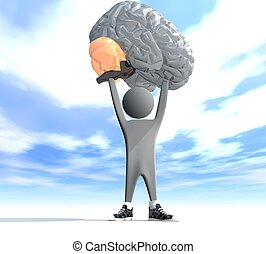 person holding a human brain - three-dimensional person...