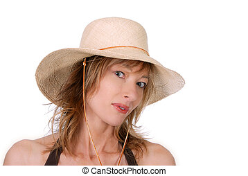 Lady wearing a straw hat