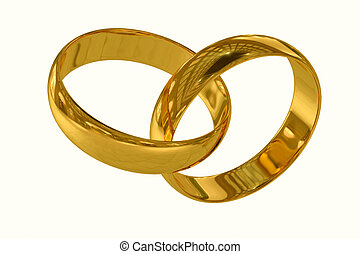 Wedding rings on a white background. 3D render image.