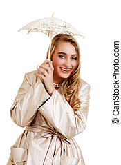 blond teenager with lace umbrella