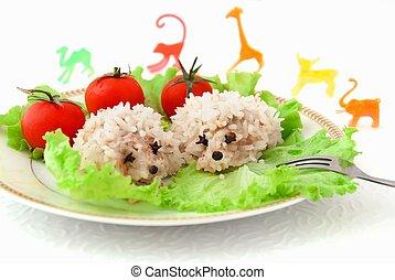divertido, alimento, juguetes, niños, arroz, erizos