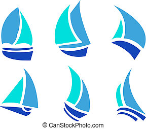 Set of Boats - Set of six boats in blue colors vector
