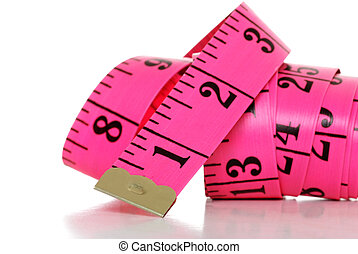 Pink Tape measure - isolated Pink Tape measure