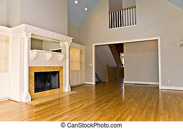 Modern Interior with Fireplace - An empty room in a large...