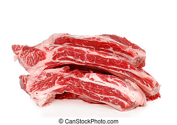 Raw Beef spare ribs - isolated Raw Beef spare ribs