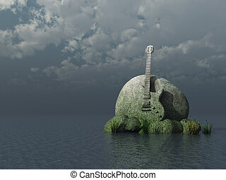 hard rock - guitar monument under dark sky - 3d illustration
