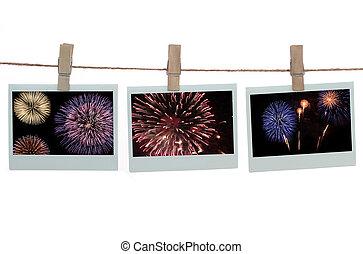 Polaroid templates with fireworks - Polaroid templates...