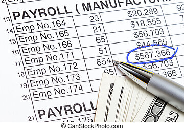 Payroll abstract with US dollars and payroll spreadsheet