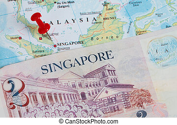 singapore dollars  - two singapore dollar in a singapore map