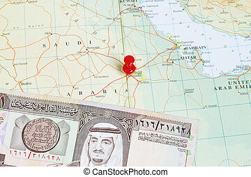 King Fahd on 1 Riyal Banknote in a map - King Fahd on 1...