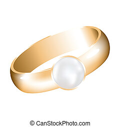 vector golden ring with a pearl