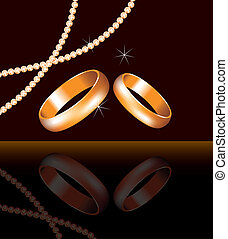 vector golden wedding rings and pearl beads