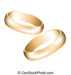 vector golden wedding rings
