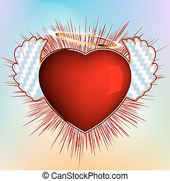 Heart with wings - valentine template. EPS 8 vector file...