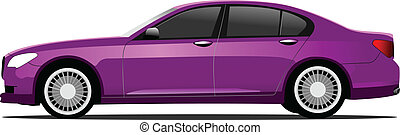 Purple car sedan on the road. Vector illustration