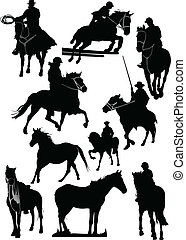 Fourteen horse silhouettes. Vector