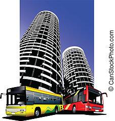 City transport on city background.