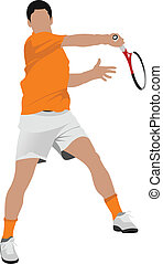 Tennis player Colored Vector illustration for designers