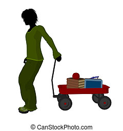 School Boy Silhouette - School boy with a red flyer and...