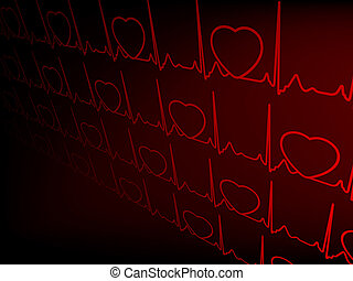 Cardiogram with hearts. EPS 8